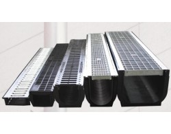 Лоток пластиковый  водоотводный  усиленный DN200 1000х260х 185 с решеткой чугунной  щелевой